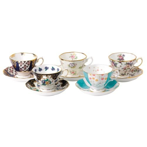 Royal Albert 100 Years of Royal Albert Teacups and Saucers, 1900-1940, Set of 5