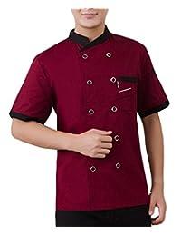 GRMO-Men Chef Jackets Lightweight Waiter Coat Short Sleeves Cook Coat