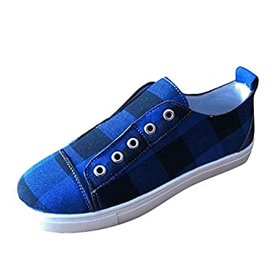 YiYLunneo Womens Flat Canvas Shoes Plus Size Student Casual Single Shoes Plaid Sneaker Slip On Loafers Breathable Shoes