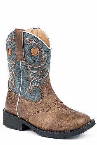 Roper Toddler Kids Boys Size 7 Daniel Marbled Blue Shaft Distressed Brown Leather Cowboy Boots