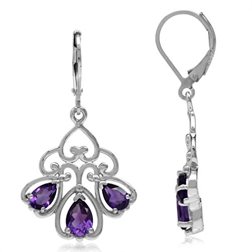 2.92ct 3-Stone Natural African Amethyst 925 Sterling Silver Heart Victorian Style Leverback Earrings (Victorian Style Amethyst Earrings)