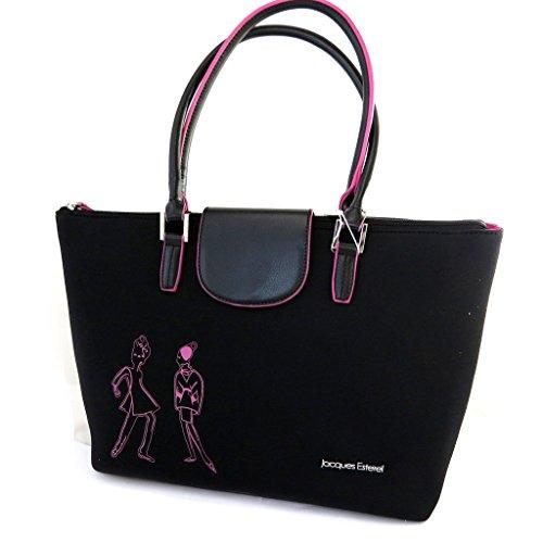 Jacques ESTEREL [M8667] - Sac shopping 'Jacques Esterel' noir rose