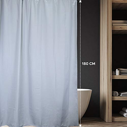 Anjee Waffle Shower Curtain Light Grey,Water Repellent Mold Proof Resistant Heavy Duty Weighted Fabric Bathroom Curtain with Bathroom Hooks, 180 x 180 cm
