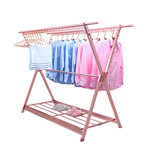 X-Type Drying Rack Floor Indoor Aluminum Alloy Telescopic Folding Drying Clothes Rack Balcony Clothes Pole 139cm (Color : Rose Gold)