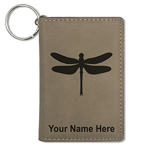 ID Holder Wallet, Dragonfly, Personalized Engraving Included (Light Brown)
