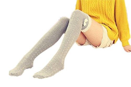 Vwhite Ladies Girls Winter Bowknot Leg Warmer Lace Knit Crochet Sock Leggings Light Grey -