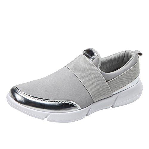 - Sherostore ♡ Women Fashion Sneakers Athletic Mesh Lightweight Slip-on Running Shoes Tennis Baseball Racquetball Gray