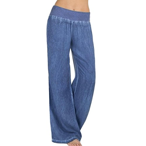 (FEITONG Women Casual High Waist Elasticity Denim Wide Leg Palazzo Pants Jeans Trousers(Medium,Blue))