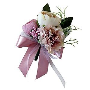 SM SunniMix Wedding Tea Rose Carnation Silk Flower Boutonniere Corsage - Dusty Pink 111