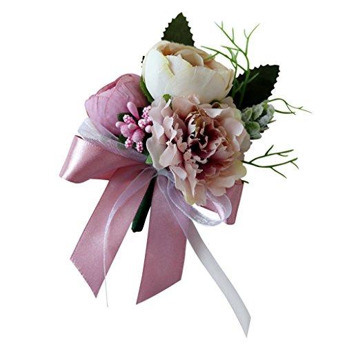 (SM SunniMix Wedding Tea Rose Carnation Silk Flower Boutonniere Corsage - Dusty Pink)