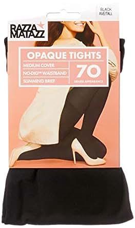 Razzamatazz Women's Pantyhose 70 Denier Slim Matte Opaque Tights, Black, Average/Tall