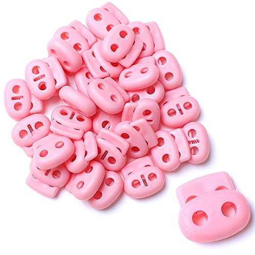 AXEN 30PCS Plastic Cord Lock End Toggle Double Hole Spring Stopper Fastener Toggles for Shoelaces, Drawstrings, Paracord, Bags, Clothing and More, Pink