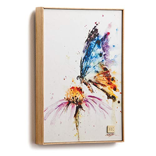 DEMDACO Garden Visitor Butterfly Wrapped Canvas Print 8 x 12 Ash Wood Framed Wall Art Plaque