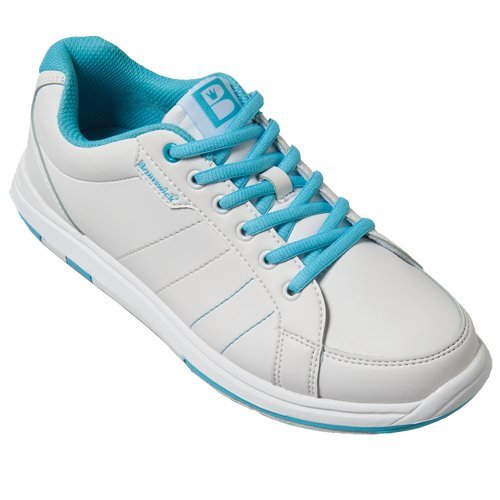 Brunswick Women's Satin Wide Bowling Shoes, White/Aqua, 9.0