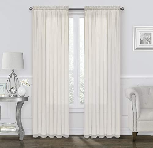 GoodGram 2 Pack: Ultra Luxurious High Thread Rod Pocket Sheer Voile Window Curtains Assorted Colors (Beige) (Sheers Off Window White)