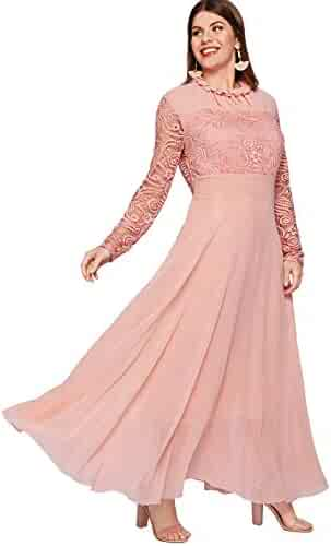 48485b87d7b Milumia Women's Vintage Floral Lace Long Sleeve Ruched Neck Flowy Long Dress