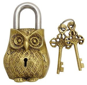 Brass Blessing Estilo Antiguo Tipo de Búho – Candado Lock with Key – Latón (a)