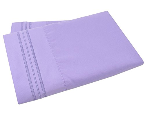 (Mezzati Luxury Two Pillow Cases – Soft Comfortable 1800 Prestige Collection – Brushed Microfiber Bedding (Lilac Lavender, Set of 2 Standard Size Pillow Cases))
