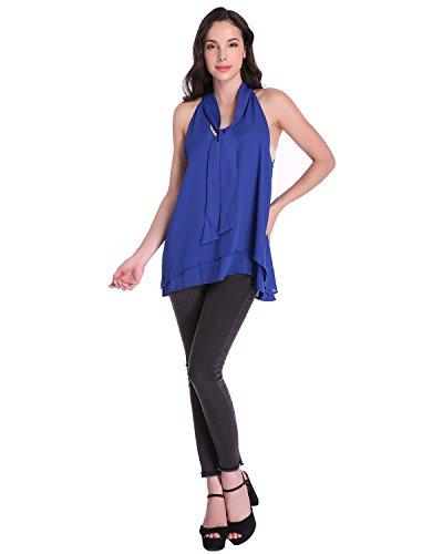 Auxo Blusa Elegante Mujer Camisas Gasa Camiseta V Cuello sin Manga Tops T Shirt Chiffon Royal