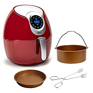 Power Air Fryer XL Deluxe - 3.4 QT, Red Electric Programmable AirFryer For Healthy Fried Food With Less or No Oil, 7 One Touch Presets For Your Favorite Recipe