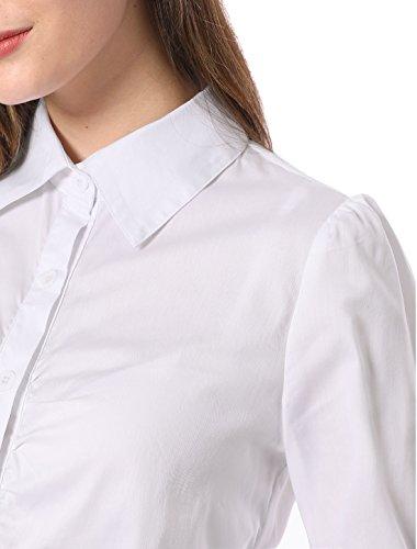 White Maillot Ladies arricciato monopetto Allegra K Avant maniche lunghe FRqF8SPxw