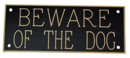 ACRYLIC BEWARE OF THE DOG 5'' X 2'' SIGN IN BLACK