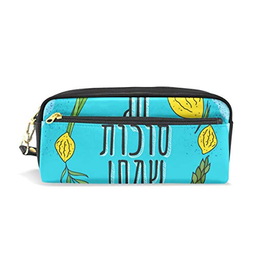 (Pencil Bag Pouch Happy Sukkot Citron Leaves Pen Case Holder with Compartments for School Student Women Cosmetic Bags Leather)