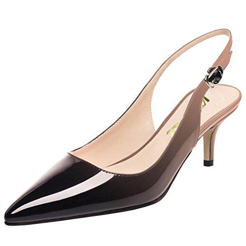 Low Shoes Women Pumps Pumps Toe Kitten Comfortable Heels for Nude Pointy VOCOSI black Slingbacks qtPwxIvUU