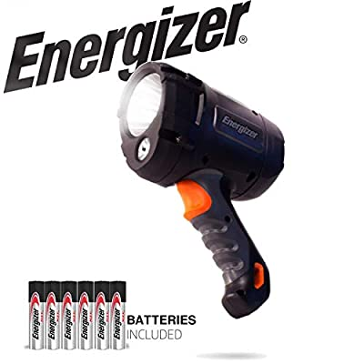 ENERGIZER Tactical Spotlight, LED Tactical Flashlight With 600 High Lumens, Virtually Indestructible IPX4 Water Resistant LED Spot Light, 6 AA Batteries Included
