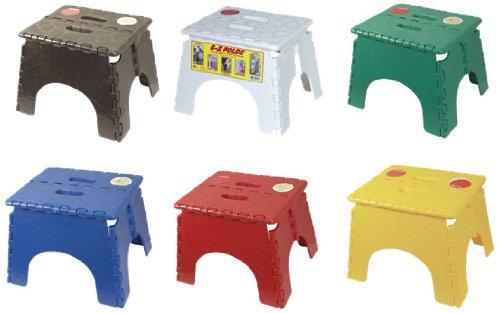 B&R Plastics 101-6AS-ASST E-Z Foldz Folding Step Stool - 9'', Assorted Colors