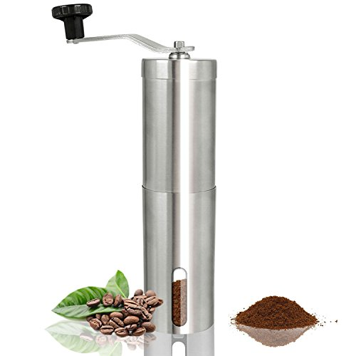 Great Deal! Manual Coffee Grinder Stainless Steel Coffee Grinder Portable Coffee Bean Grinder with A...