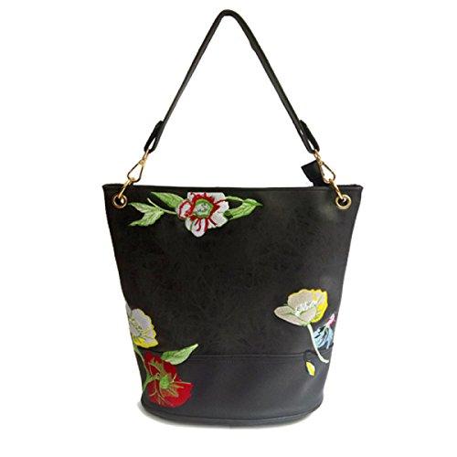 Nuevo Paquete De Bordado Las Mujeres De Moda Europa Y Los Estados Unidos Hombro Messenger Bag Black