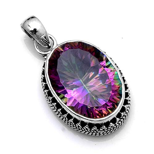 Silver Palace 925 Sterling Silver Natural Mystic Topaz Pendants for Women and ()