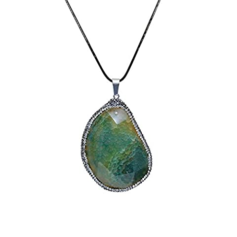 ART KIM Oval Agate Gemstone Pave Rhinestone Crystal Edge Natural Geode Necklaces (Olive Green) (Green And Gold Baseball Necklace)