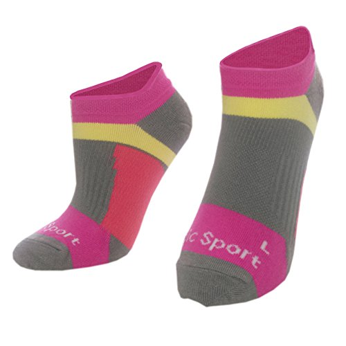 Compression Running Socks, Reinforced Arch Support, pressure dispersing heal, enhanced stability of ankles, Ideal for running, cycling, any type of sports,Fuchsia,M-L - Men 6-8/ Women 5-9 (Charcoal Support Ankle Bamboo)