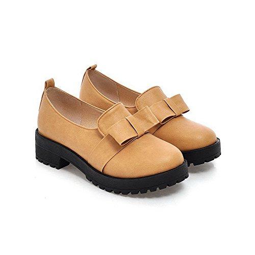 Amoonyfashion Mujer Pull On Tacones Cerrados Con Punta Cerrada Tacones Altos-zapatos Sólidos Amarillo
