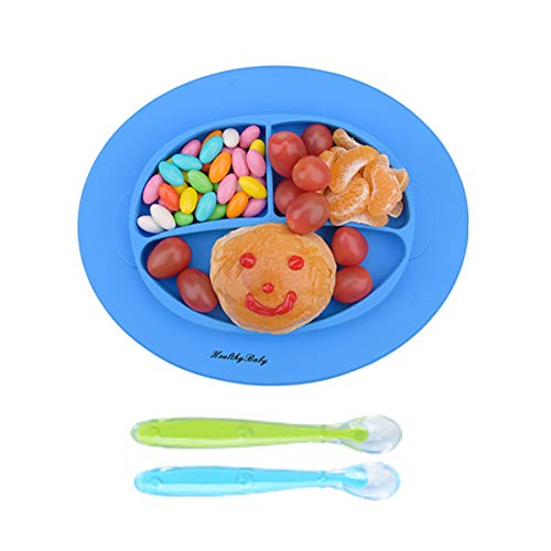 Silicone Baby Placemat, Improved Non-Slip Baby Plates, Suction Self Feeding Set Fit Most Highchair(Blue) -