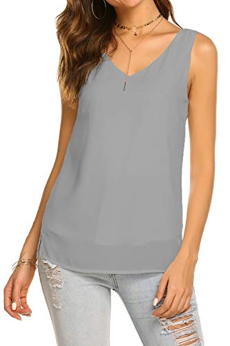BLUETIME Women Sleeveless Tunic Tank Top with Side Splits Chiffon Summer V Neck Sleeveless Blouses (XXL, Gray) ()