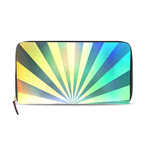 Rainbow Rays Print PU Leather Long Wallets Zipper Clutch Ladies Purse Wallet for Women Girl - Ray Day Prints