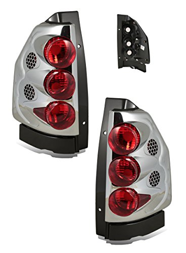 SPPC Chrome Euro Tail Lights Assembly Set for GMC Envoy - (Pair) Driver Left and Passenger Right Side Replacement