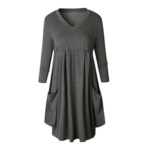 Couleur Robe shirt cou Manches Occasionnel unie Mesdames Lache Mini Robe Gris longues Wolfleague T V Femmes 1x8zYwq5