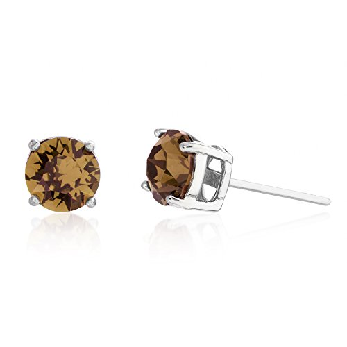 Devin Rose 6mm Round Solitaire Stud Earrings for Women Made with Swarovski Crystals in Rhodium Plated 925 Sterling Silver (Crystal Light Smoked Topaz Imitation November Birthstone) -