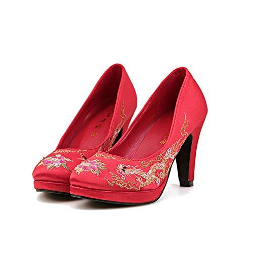 Xue Qiqi Zapatos de Boda Chinos Tradicionales Zapatos de Vestido de Boda Chino y Retro Phoenix Bordados Zapatos de Novia Mujer Gruesos con The Red