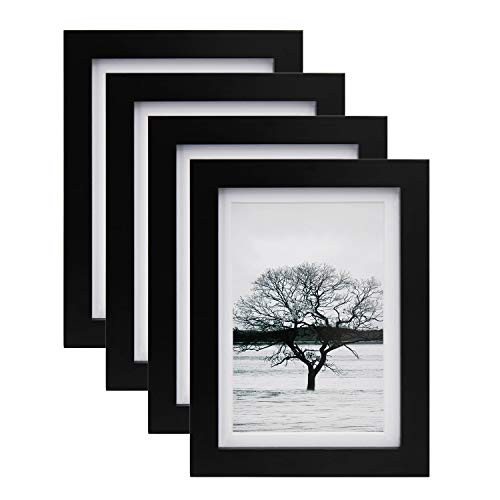 Egofine 5x7 Picture Frames 4 PCS - Made of Solid Wood HD Plexiglass for Table Top Display and Wall Mounting Photo Frame Black (5x7 Frames Picture Hanging Black)