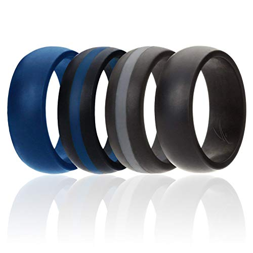ROQ Silicone Wedding Ring for Men, Silicone Rubber Band Police 4 Pack- Blue, Black, Grey - Size 15