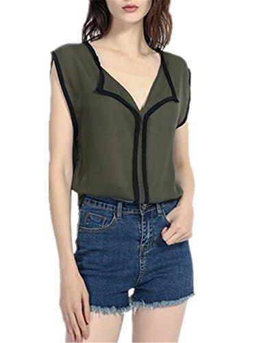 en Mousseline Elgant Chemises Haut sans Manches Shirt Blouse green T Tendance Aoliait Tunique Femme Loose t Tops en Dcontracte 1wxqwvPO6