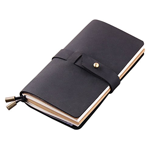 Robrasim Vintage Handmade Refillable Travelers Notebook - Journals Diary Geniune Leather Notebook - Medium Size 17x10cm - Black