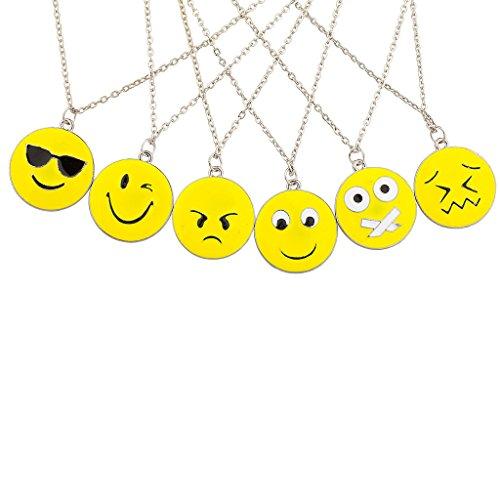 Lux Accessories 6 PC Emoji Emoticon Happy Sad Cool Shy BFF Best Friends Multiple Necklace Set