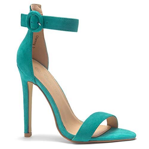 15cf0b7abea Herstyle Charming Open Toe Stiletto Heel. Teal 10.0