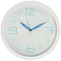 DecoMates Non-Ticking Silent Wall Clock, Fresh Mint, Crystal Blue